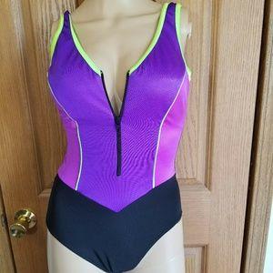 Vintage 80s Bright Neon Zipper front bathing suit